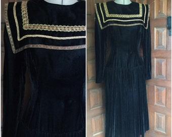 Gunne Sax Black Velvet Dress