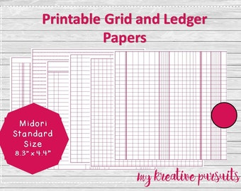Bullet Journal Printable Papers, Ledger Papers, Midori Inserts, Standard Size