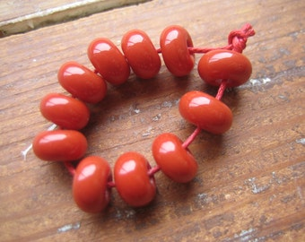 Schoolhouse Red/Orange Lampwork Spacer Beads, SRA, UK Seller