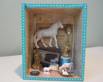 Mixed media assemblage, 3D art, shadow box, found object art