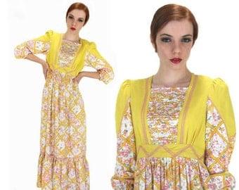 Vintage 70's Prairie Dress Calico Vintage Yellow With Puff Sleeves Hippie Boho