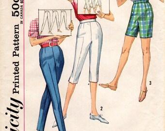 1960s High Waist Cigarette Pants Pedal Pushers Capris Shorts - Vintage Pattern Simplicity 4886 - Waist 28