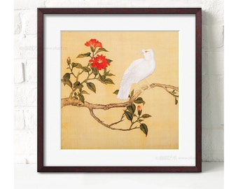 Tree with bird ,Framed art print,chinese painting print,flower art print,floral painting print,orietal art,print with frame