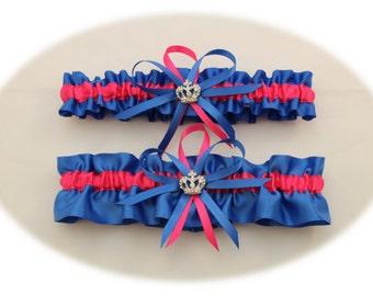 Royal Blue and Hot Pink Wedding Garter Set, Bridal Garter, Prom Garter  (Your Choice, Single or Set)