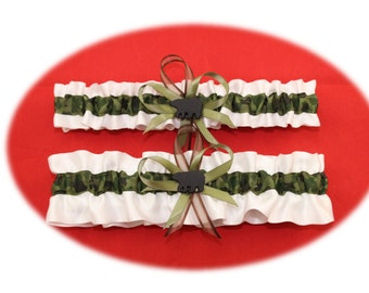Camouflage and White Satin Wedding Garter Set with Bear Deco
