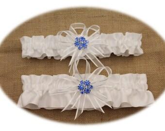 White Satin Wedding Garter Set with Blue Rhinestone Charms