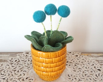 Wool Plant - Potted Fake Plant - Teal Pom Pom Flower Bouquet - Knit Leaves - Merino Wool - Mustard Basket Weave Haeger Pot - Blue Felt Plant