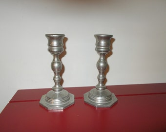 Pewter Candle Sticks Vintage Stylish Candle Holders