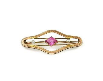 Art Deco 10K Gold Pink Sapphire Pearl Brooch - Charles Keller Company, Sash Pin, Art Deco Brooch, Vintage Brooch, Antique Jewelry