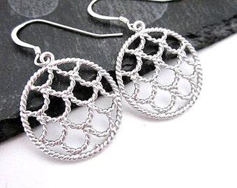 Small Silver Earrings -- Unique Silver Hoops -- Dainty Hoops -- Small Hoop Dangles -- Fancy Hoop Earrings -- Scallop Dangles -- Silver Hoops