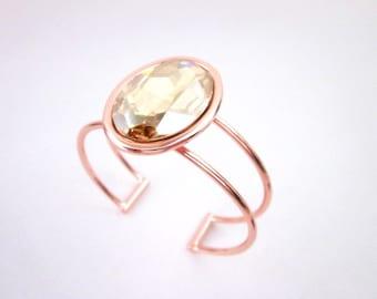 Copper Cuff Bracelet -- Copper & Amber Bangle Bracelet -- Golden Shadow Swarovski Bracelet -- Swarovski Crystal Cuff -- Sparkly Bracelet