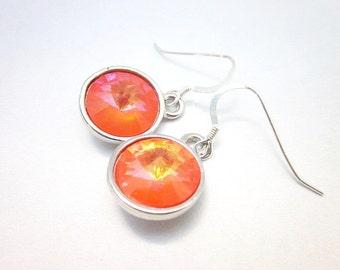 Ultra Orange Swarovski Crystal Earrings -- Silver & Pastel Orange Earrings -- Orange Crystal Earrings -- Melon Earrings -- Orange Dangles