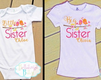 Tweet Birds Big Sister Little Sister Outfit - Bodysuit or Tshirt - Photo prop - Newborn