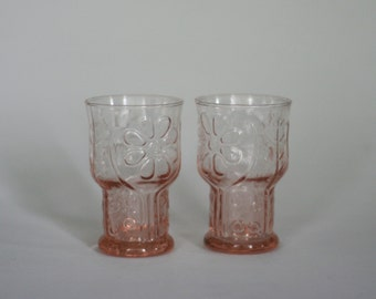 vintage country garden libby daisy glasses in pink