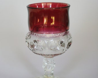 vintage kings crown footed glass ruby red and crystal
