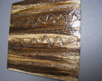 Ceramic Rock Art Tile - Line and Zigzag Petroglyph Design - Ceramic Tile - Ceramic Coaster - Art Coaster