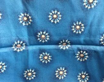 Vintage Turquoise Blue Sunburst Fabric Yardage Destash