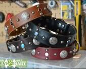 "On SALE - 1.5"" CELTIC SHEILD - Studded and Crystal Jeweled Dog Collar"