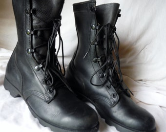 Rare Usa Made Great Lookin 90s Us Military Styled Black Leather Duty Combat Boots 5 R (Womens sz 7)