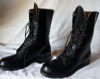 Womens NOS 1968 Vintage Us Military Styled Black Leather Duty Combat Boots Size 5
