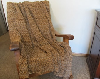 Coffee Clouds Knitted Afghan  60 x 72 machine washable, acrylic blend