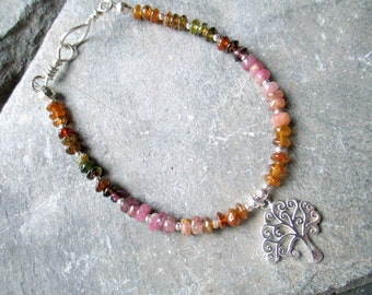 Sterling Silver and Tourmaline bracelet, Silver Tree of life and natural muted rainbow tourmaline bracelet
