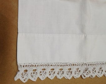 Lace Trimmed Small or Child's  Pillowcase White Cotton with Lace Trim Pillowcase for Doll Bed