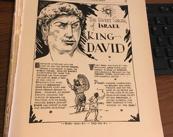 Book page print. King David of Israel . 7 x11 Great for framing for the collector. History.
