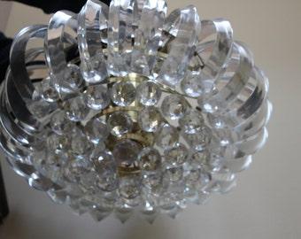 Vintage Mid Century Modern, Hollywood Regency, Lucite Chandelier, 6 light bulbs, Crystal, Prism Balls, Mad Man Era