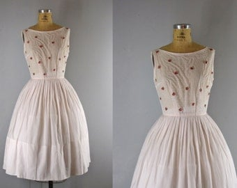 1950s Vintage Dress l 50s Pale Pink Embellished Sundress