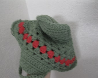 Clearance  Crochet Washcloth -Green and Red