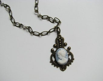 Blue and White Victorian Style Cameo Locket Necklace