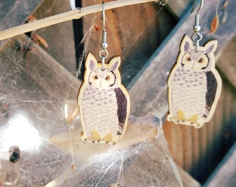 Great Horned Owl Earrings