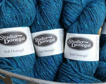 SIX Skeins Teal Studio Donegal  Irish Tweed 100% Merino