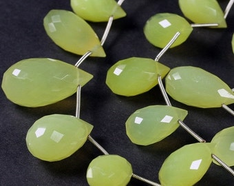 ON SALE Green Chalcedony Teardrops Lime Green Faceted Briolettes Limeade Large Teardrops Earth Mined Gemstone - Your Choice of One Large Bea