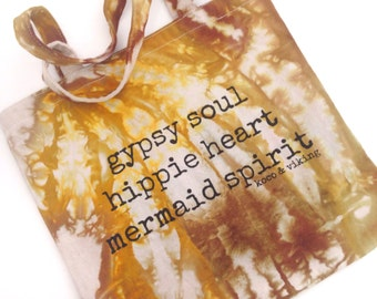 Gypsy Soul Hippie Heart Mermaid Spirit tie dye tote bag one of a kind eco reusable