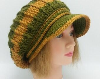 Slouchy Newsboy Olive Green Hat Handmade Crochet Gray Slouchy Visor Hat Newsboy Slouchy Visor Hat  OOAK Ready to Ship
