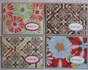 Set of 4 Thank You Handmade Greeting Cards Free Shipping