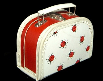 Vintage child's ladybug lunchbox ~ miniature hardsided suitcase toy ~ red white and black ~ bugs insects ~ school ~ 1950s 1960s ~ box purse
