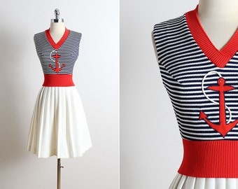 Reserved /// Vintage 60s dress | vintage 1960s sailor dress |  nautical dress s/m | 5739