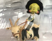 Ooak Spun Cotton Rosalie and Ron Don witch girl with her goat.