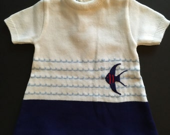 Vtg Little Girls Blue and White Knit Dress With A Fish
