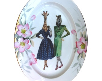 SALE - BFF's Lucinda and Hazel - Altered Vintage Plate 13.75""