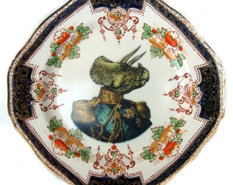 Admiral Triceratops Portrait Plate - Altered Antique Plate 6.75""