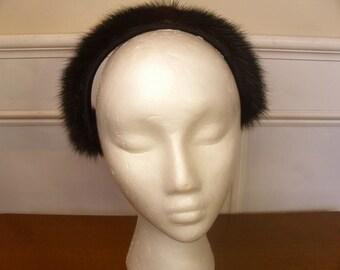 Vintage 1960's  Black Fur Headband