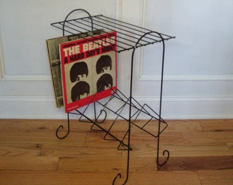 Vintage 1950's/1960's  Black Metal Record Rack
