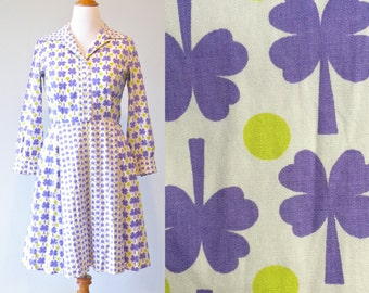 Vintage 1960s Novelty Print Dress, Four Leaf Clover and Polka Dot Dress, 60s Cotton Day Dress by David Crystal Sz Large