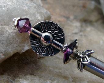 Amethyst Purple Hair Stick Swarovski Crystal and Textured Silver Plate Hair Pin Chignon Pins Hair Pins Hair Chopsticks Haarstab - Lurlina