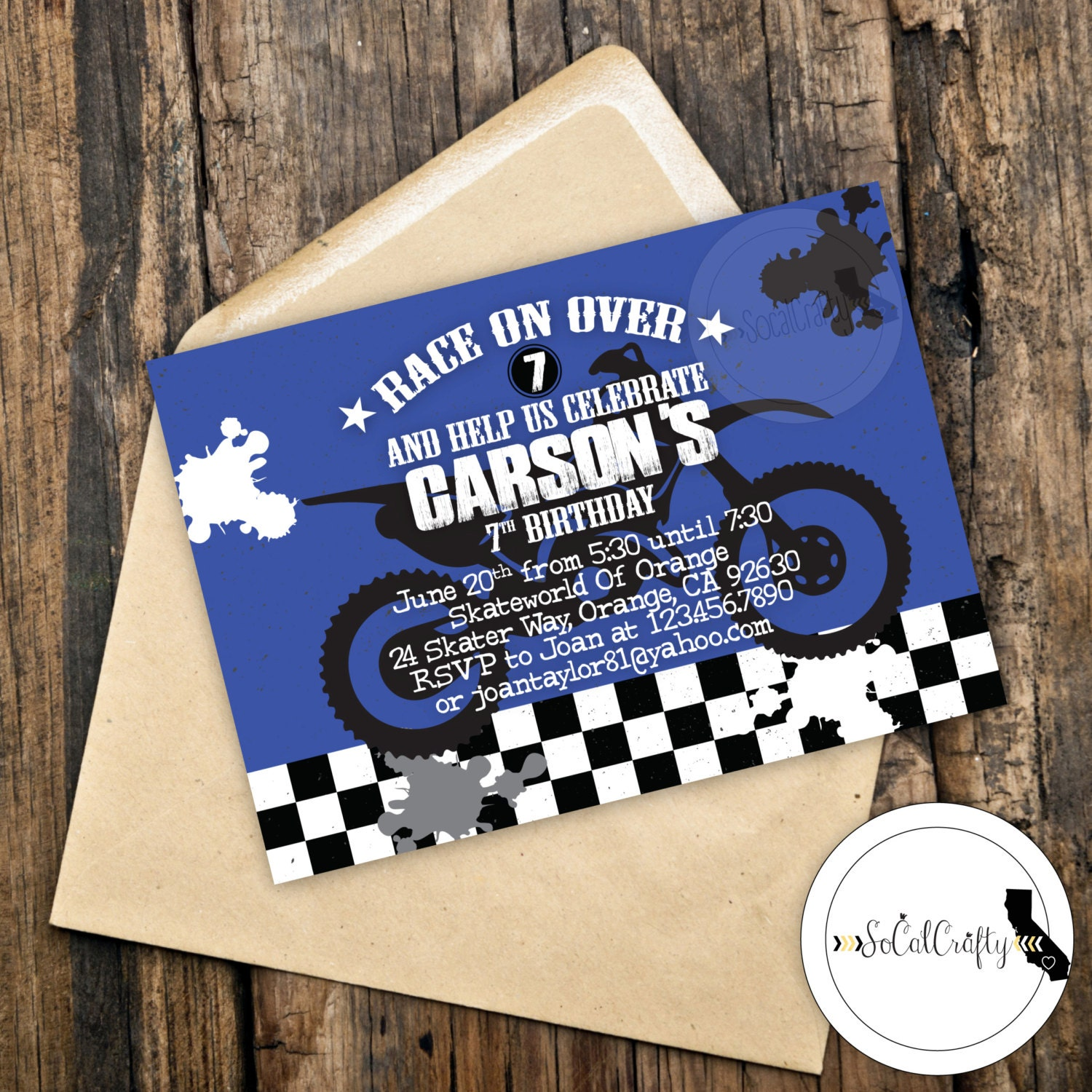 Motocross Birthday Party Invitation Supercross Dirt Bike – Motorcycle Party Invitations