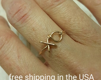 Rose gold ring xo free shipping filled hugs and kisses exes and ohs